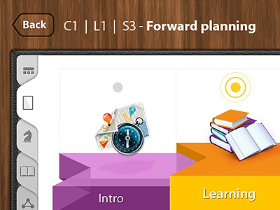 Mindlab wizard teacher platform labels tabs wizard 3d platform education mindlab inkod hypera gui design ux ilan dray wood back button tablet steps app icons