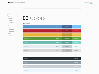 UNITY Cybereason Design Material live style guide brand book theme hacker menu modules system colors cyber widgets components sdk style guide design material design system