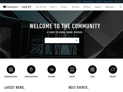 CYBEREASON COMMUNITY PLATFORM : THE NEST icons search engine search announcement communication events cyber security cyber knowledgebase knowledge videos discuss share forum blog documentation training nest platform community