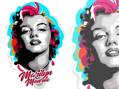 Marilyn in Pop Art Style illustrator wpap vector potrait popart illustrations illustration design colorfull caracter design