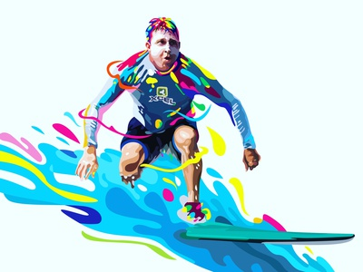 Surfing on the Rainbow (comission work) surfing photoshop wpap graphic design vectorart vectors vector illustration vector art rainbow color illustrations illustration illustrator design vector potrait popart colorfull caracter design