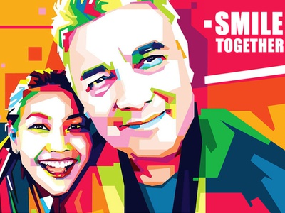 Smile together (comission work) comission vector art vexelart couple illustrator design graphic design vector illustrations colorfull popart wpap