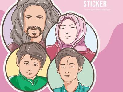 Family Sticker (comission work) freelance designer comission lineart family portrait stickers line art graphic design vector art potrait illustration vector popart illustrator illustrations design