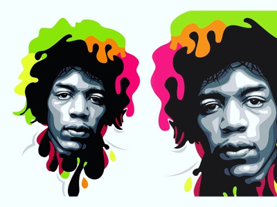 The Jimi Hendrix Pop Art color illustrator vector art graphic design caracter design potrait illustrations colorfull vector popart