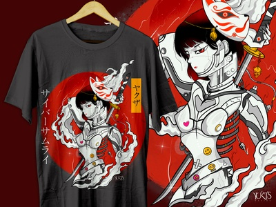 cyber girl with katana tshirt design japan japanese culture japanese art japanese vector graphic design design caracter design custom tshirt design customdesign tshirtdesign tshirt fiverr.com fiverr illustrations