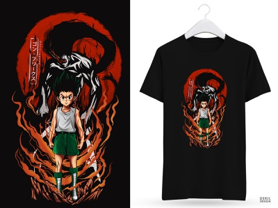 Gon (comission work) japanese culture japan japanese style japanese art design branding customdesign hunter x hunter anime illustrations illustration caracter design fiverr design fiverrs fiverr.com tshirt design tshirts tshirt art tshirtdesign tshirt