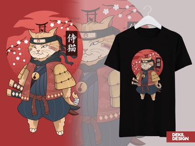 Samurai Cat fiverr.com samurai vector art graphic design illustration tshirt design tshirt art tshirts tshirtdesign fiverr japanesdesign japanese style japan japanese design caracter design vector