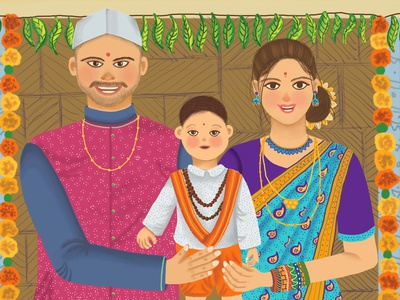 Say Cheese marathi couple character design illustrator love family portrait mother and child portrait home together memories smile family illustration family