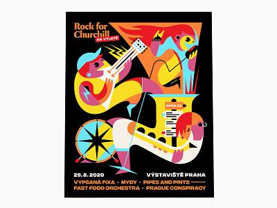 Rock For Churchill – poster design graphic poster geometricillustration illustration rockfestival posterdesign