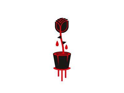 Rose geometric red black vector minimal illustration rose