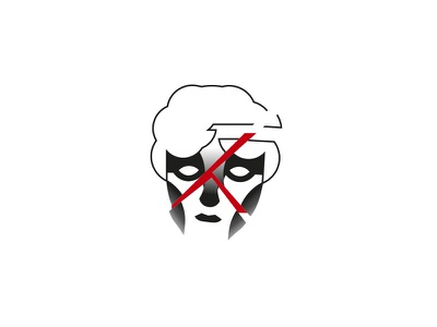 Mind cracked greek face red black minimal vector illustration cracked mind