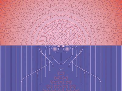 Micro to Macro-dose psilocybin mushrooms psychedelic face illustration