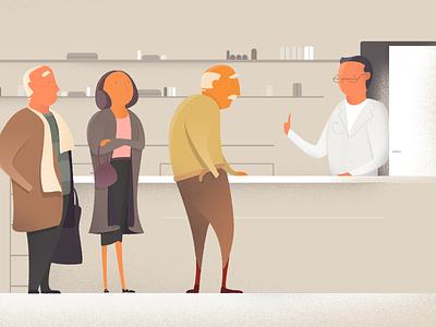 Scene two animation elderly family support nurse grand children illustration dementia
