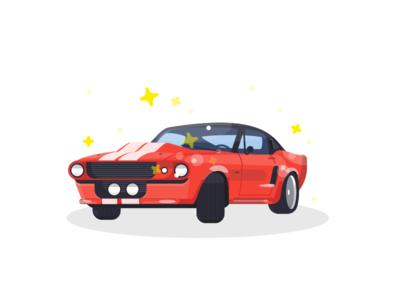 Mustang car gt ford mustang vector design flat illustration