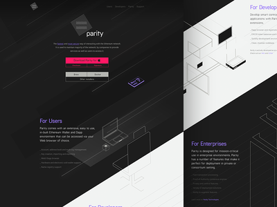 Parity.io application illustration ethereum io parity home layout design web
