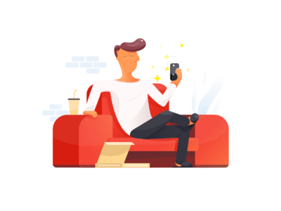 Just Chillin phone mobile chill chilling relaxing coach pizza flat illustration