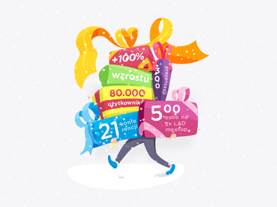 Infographic numbers application developers holidays presents christmas snow hr software growth infographic illustration