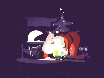 Christmas Card illustration moon lights tree night room boy toys presents santa card christmas