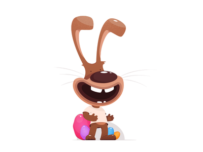 Easter Bunny animation game character simple eggs funny cartoon rabbit bunny easters illustration