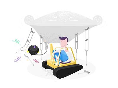 Hacker 2 amateur hacker building buldozer modern simple cartoon illustration