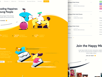 Dribbble Shots Happy Layout school teaching course young happy desing education application illustration web design