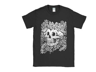 T-Shirts! floral tshirtdesign skulls skull drawingart pen and ink tshirt drawing