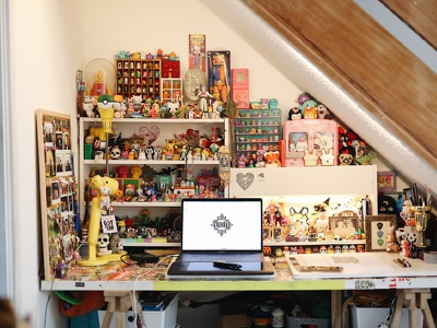 Home design office workspace desk drawing