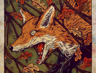 Fox ink pen sam dunn pen and ink hand drawn nature fox illustration art drawing illustration