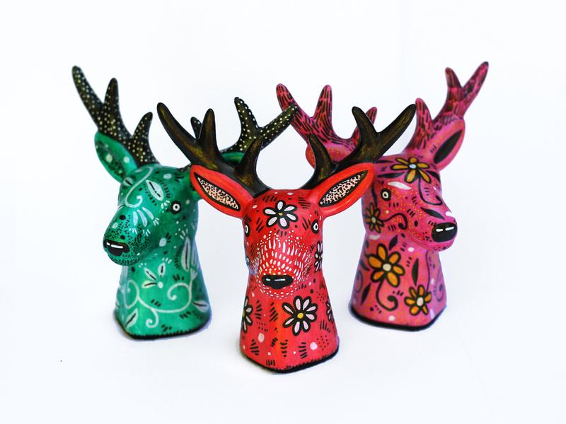 Deer colours floral illustration design paint illustration art