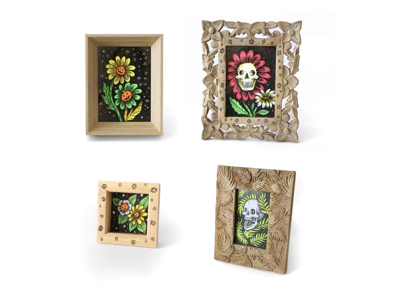 Frames pumpkin spooky floral halloween skull sam dunn illustration design drawings drawing illustration
