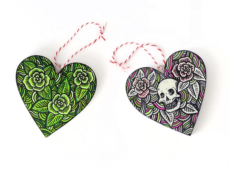 Shop design floral drawing heart