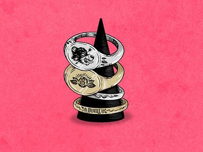 Rings jewellery rings illustration design illustration art drawing