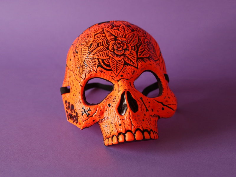 Skull Mask skull halloween design floral drawing