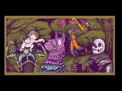 Fortnite Fan Art forest games llama gaming cute illustration art design fortnite drawing illustration