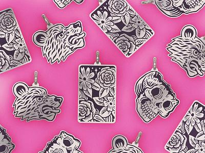 Pendants 3d cad illustration design silver jewellery