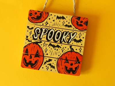 Spooky paint type illustration design cute art cute pumpkin drawing