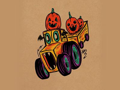 WEENZINE EIGHT autumn fall halloween spooky haunted cute tractor drawing illustration