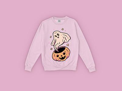 Sweater Pre-order halloween spooky design pumpkin cute ghost drawing illustration