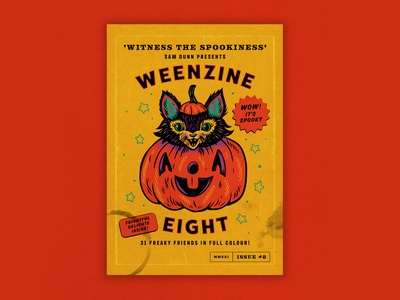 WEENZINE EIGHT! pumpkin cat cute spooky halloween design art drawing illustration