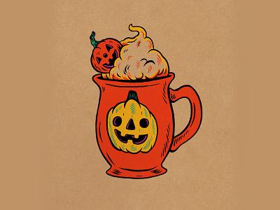 WEENZINE EIGHT spoopy spooky cute latte pumpkin october halloween drawing illustration