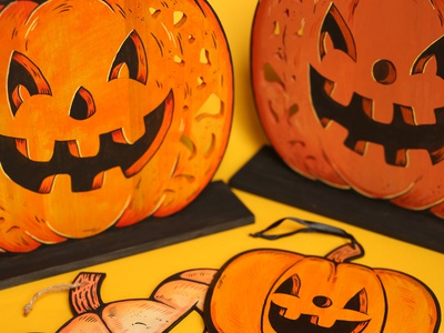 New! halloween hand painted painted cute pumpkin spooky drawing illustration