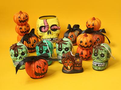 New spooky paint sam dunn designs art pumpkin skull halloween