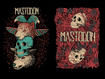 Mastodon illustration band merch art ink pen skull mastodon tshirt