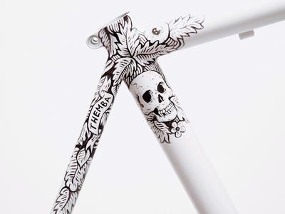 Spoon acrylic paunt progress floral skull drawing white frame bike road-bike illustration