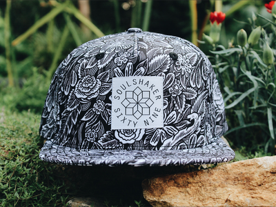 Soulshaker ink drawing cap snapback floral rose pattern illustration