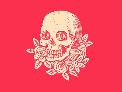 Lino flowers floral ink printmaking prints drawing illustration skull printing print lino