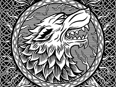 Game of Thrones Door wood carving door drawing stark sigil celtic game of thrones illustration wolf