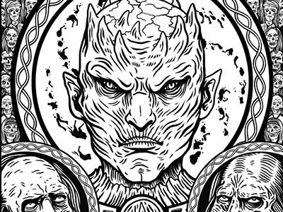 Game of Thrones Door wood carving door drawing stark sigil celtic game of thrones wolf illustration
