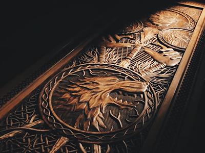 Game of Thrones Door wolf illustration game of thrones celtic sigil stark drawing door carving wood