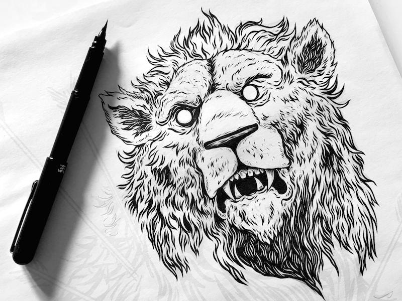 Leo wip detail draw drawing ink pen alchemy art lion illustration